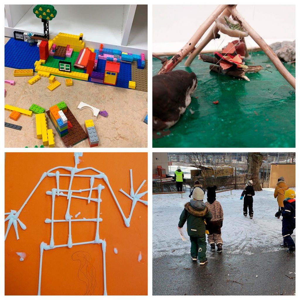 Bildcollage på ett legobygge, en modell som förställer stenåldern, en bild som föreställer människans skelett gjort av bomullspinnar och barn och vuxna som leker på skolgården.