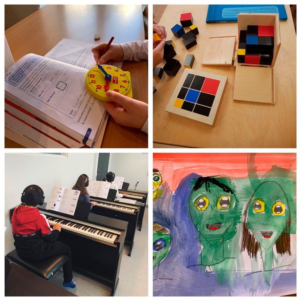 Bildcollage bestående av en elev som tränar på klockan på en matematiklektion, en elev som räknar tusental med klossar, plattor och kuber, tre elever som spelar piano och en tavla på ansikten målad av en elev.