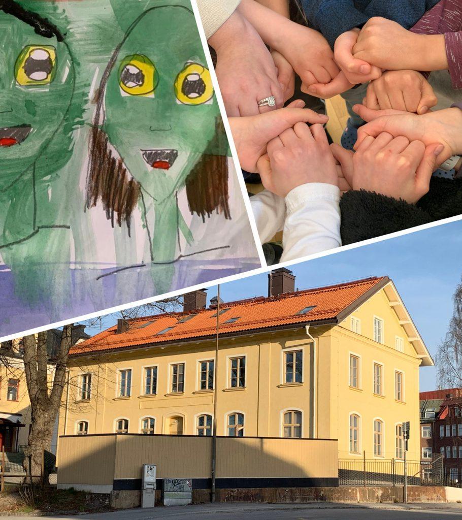Bildcollage bestående av en tavla målad av en elev, händer som håller i varandra och vår gula skolbyggnad i solsken.