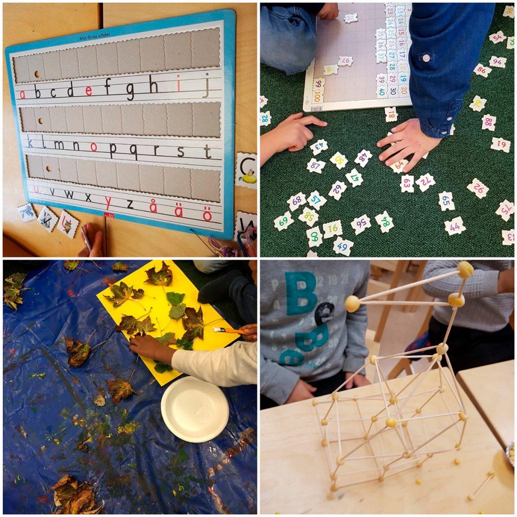 Bildcollage bestående av en tavla där eleverna tränar på alfabetet, elever som tränar på tal från 0-100, elever som klistrar höstlöv på gult papper och elever som bygger en konstruktion av pinnar och träkulor.